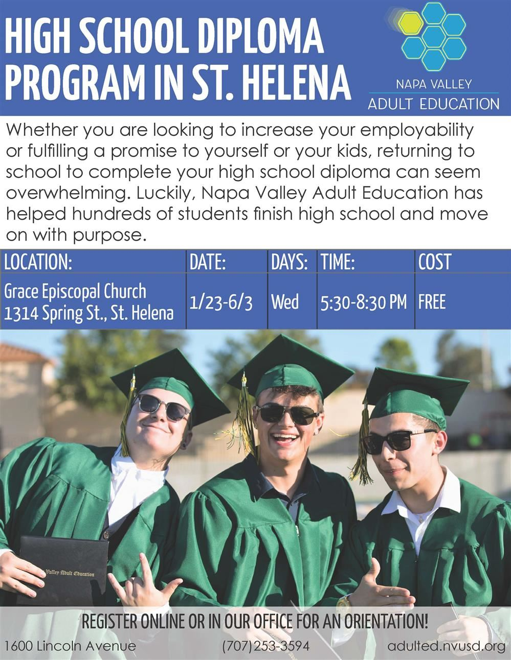 High School Diploma /Equivalency Classes at Grace Episcopal Church in St. Helena / Clases en espanol tambien disponible